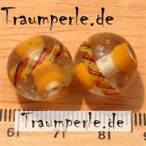 13 mm Glasperlen Klar mit Orange