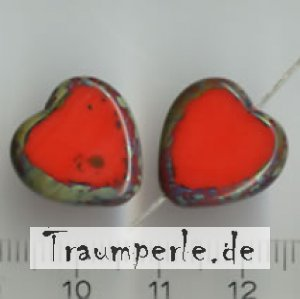 Glasperlen Tablecut Herz Rot