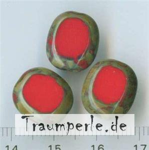 Glasperlen Tablecut Rot-Travertin