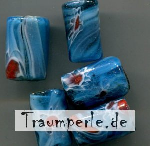 Glasperlen Tube Blau Milifiori
