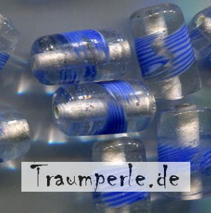 Glasperlen Tube Transparent Blau