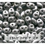 SuperDuo-Beads Alabaster Matt Metallic Silver