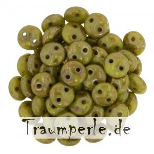 Two-Hole Lentils 6mm Chartreuse - Bronze Picasso