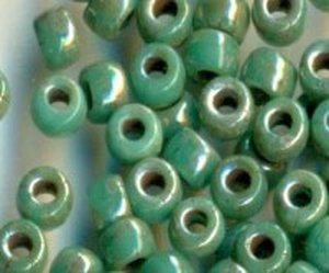 7/0, 3,5mm MATUBO Rocailles TURQUOISE GREEN PICASSO...
